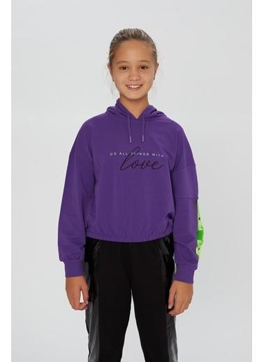Little Star Little Star Kız Çocuk Baskılı Sweatshirt Mor